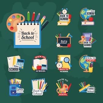 De volta às aulas defina ícones em verde