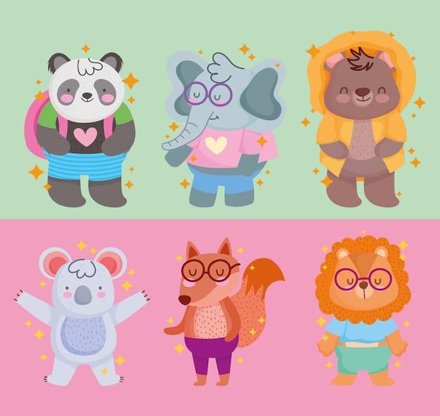 De volta às aulas, desenho animado de coala e leão panda urso fofo
