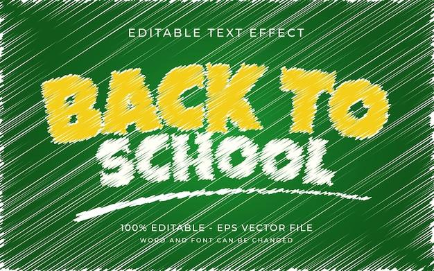 De volta às aulas efeito de rabisco de texto estilo fonte editável efeito de texto