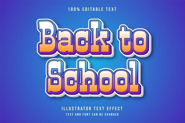 De volta às aulas, efeito de texto editável em 3d efeito cômico gradação amarela azul