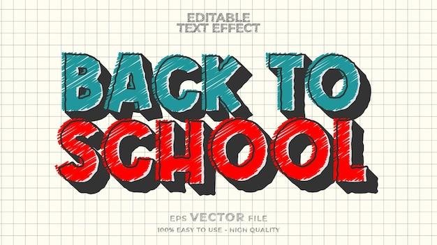 De volta às aulas, efeito de texto, marcador editável, estilo de texto doodle