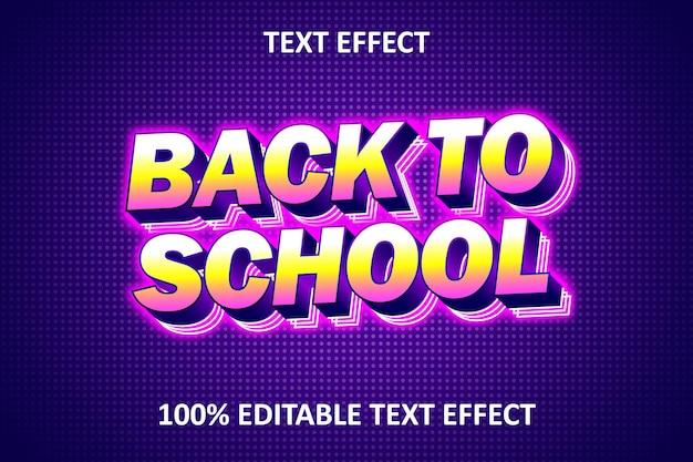 De volta às aulas efeito de texto retro chique editável Vetor Premium