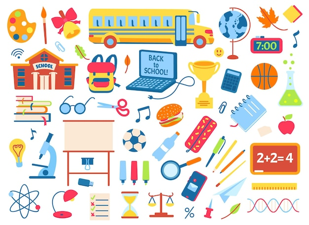 De volta às aulas elementos do doodle crianças bonitos adesivos mochila livros lápis caderno conjunto de vetores