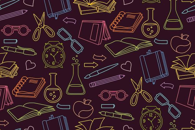 De volta às aulas esboço do doodle padrão colorido sem costura aprendendo têxteis da linha escolar primeiro dia do equipamento escolar ícone do conceito de educação caderno de esboços de química óculos tesoura escritório