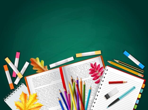 De volta às aulas, fundo realista com livros lápis giz de cera folhas de outono borracha