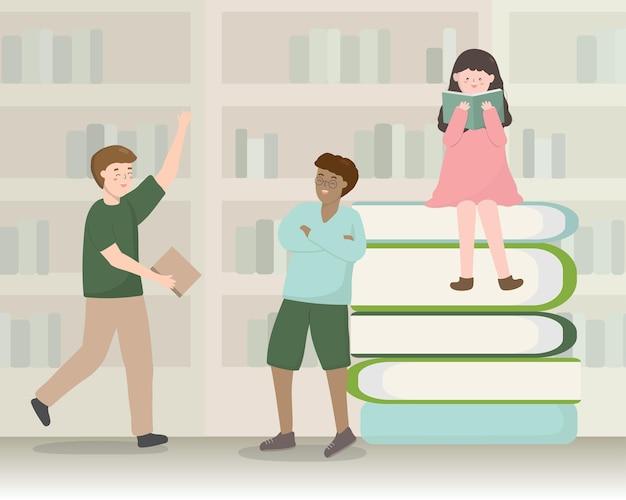 De volta às aulas ilustração com o tema dos desenhos animados do conceito da biblioteca da livraria.