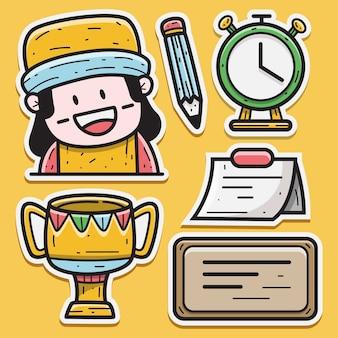 De volta às aulas ilustração do desenho do doodle kawaii