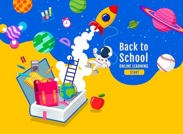 De volta às aulas, livro de inspiração, aprendizado on-line, estudo de casa, vetor de design plano.