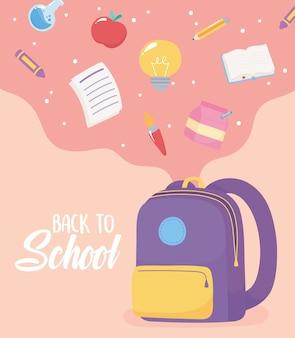 De volta às aulas, livro de lápis de papel caindo lápis de maçã na bolsa, desenho animado do ensino fundamental