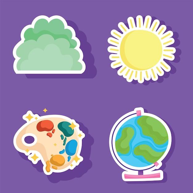 De volta às aulas, mapa do globo, paleta de aquarela, ícones de arbusto e sol