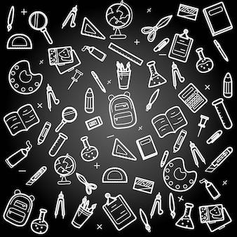 De volta às aulas, material de papelaria para estudantes, ilustrações de quadro negro