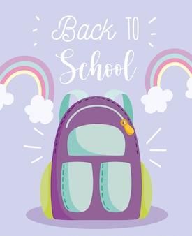 De volta às aulas, mochila arco-íris nuvens decoração desenho animado ensino fundamental