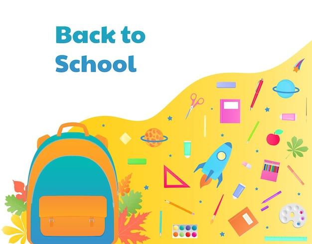 De volta às aulas, mochila com material de estudo, papelaria. nave espacial, cometa e planeta