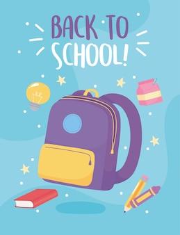 De volta às aulas, mochila, lápis de cor e caixa de leite, desenho animado do ensino fundamental