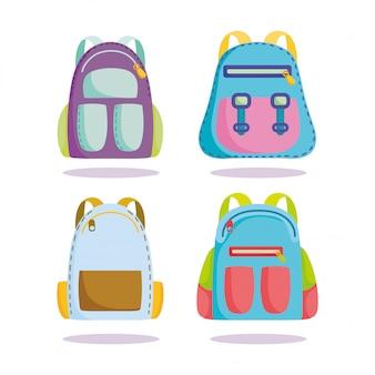 De volta às aulas, mochilas suprimentos acessórios desenho animado ensino fundamental
