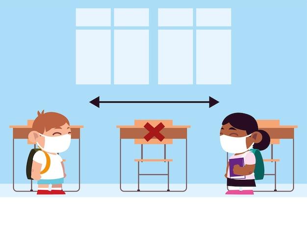 De volta às aulas para novos alunos normais, meninos e meninas com máscaras na sala de aula, ilustração de manter distância física