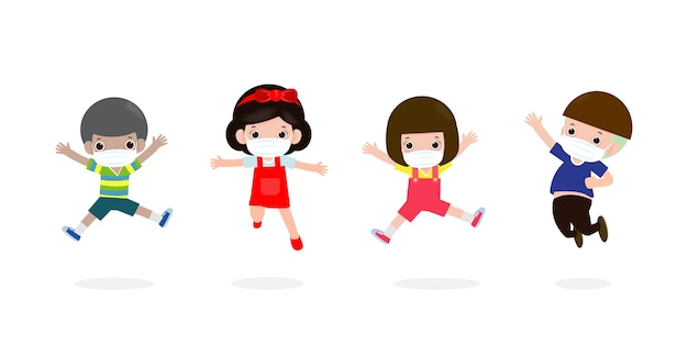 De volta às aulas para um novo conceito de estilo de vida normal. crianças felizes pulando usando máscara facial protegem o vírus corona ou covid 19, grupo de crianças e amigos vão para a escola isolados
