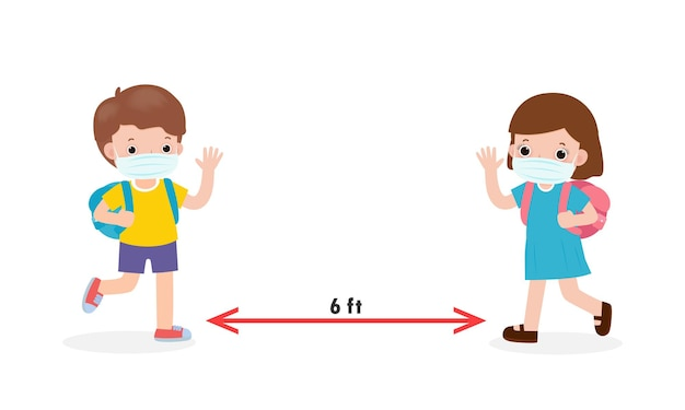De volta às aulas para um novo conceito de estilo de vida normal, distanciamento social com crianças asiáticas