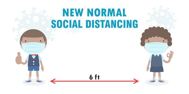 De volta às aulas para um novo conceito de estilo de vida normal, distanciamento social