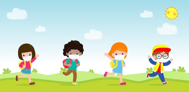De volta às aulas para um novo conceito de estilo de vida normal grupo de alunos caminhando ir para a escola