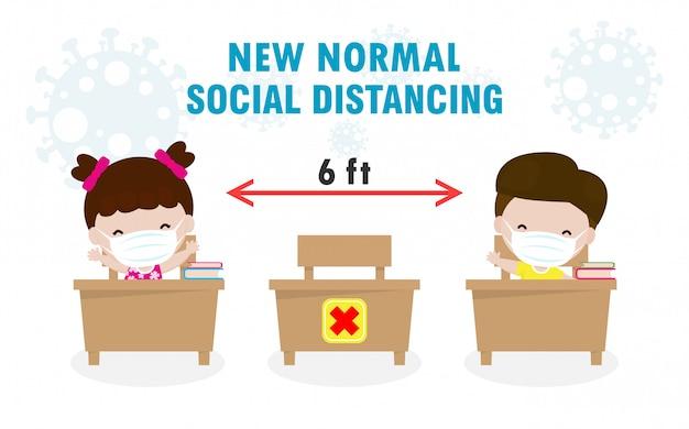 De volta às aulas para um novo estilo de vida normal, distanciamento social na sala de aula conceito