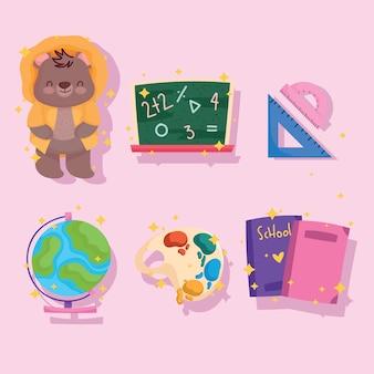 De volta às aulas, urso bonito, livro-quadro, régua e ícones do mapa
