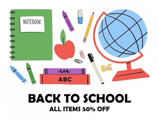 De volta às aulas várias ferramentas para a educação conjunto de vetores grandes desenhados à mão