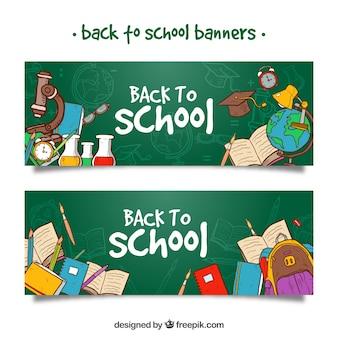 De volta às banners da escola com material escolar desenhado à mão