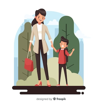 De volta às crianças da escola com sua mãe