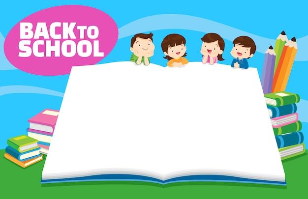 De volta às crianças da escola, conceito de educação