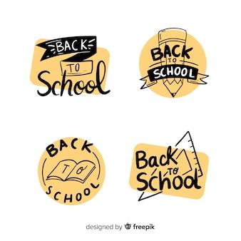 De volta às etiquetas da escola e coleção de crachá
