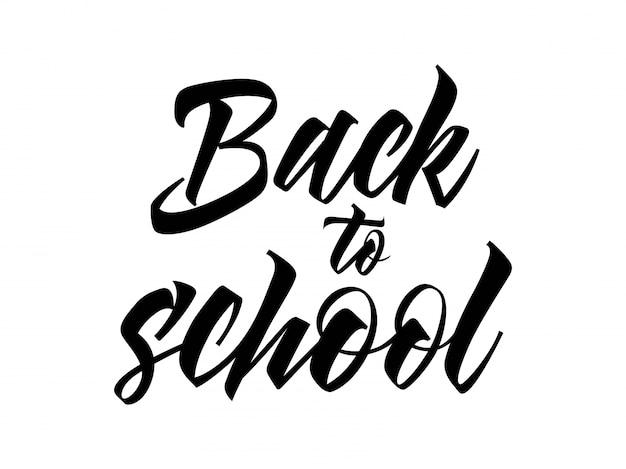De volta às letras da escola em cor preta
