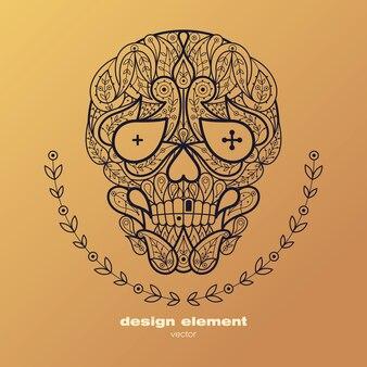 Dead head. ilustração ornamental de crânio humano Vetor Premium