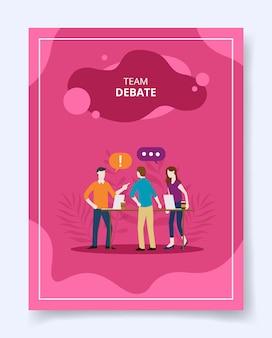 Debate em equipe, pessoas ficam, conversam, falam, falam