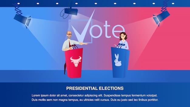 Debate ilustração dois candidatos presidenciais