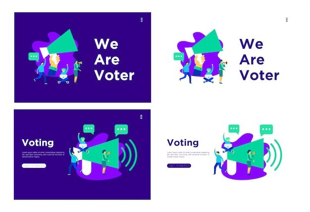 Debater a ilustração plana de votação