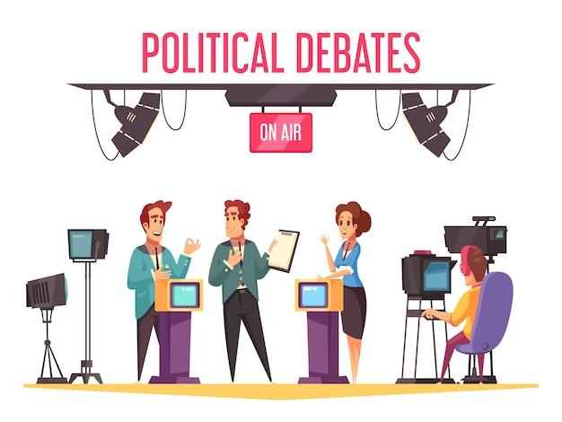Debates políticos ao vivo na tv são exibidos com participantes da campanha apresentando programas e confrontando a composição dos desenhos animados dos adversários