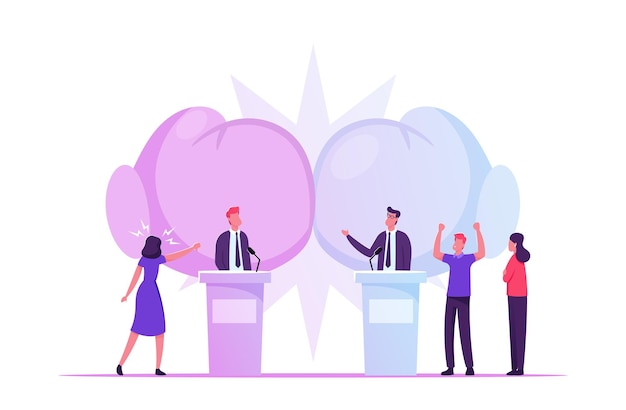 Debates políticos, processo de votação da campanha pré-eleitoral, ilustração plana de desenhos animados