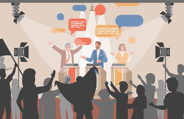 Debates públicos de candidatos políticos, políticos de ilustração plana discutindo