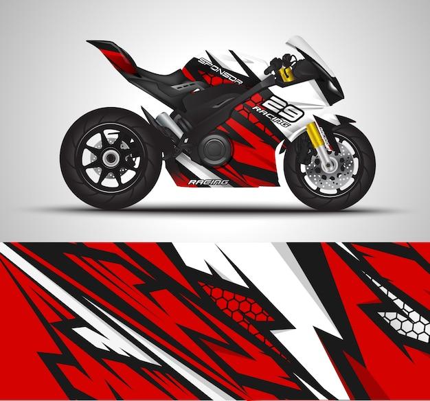 Decalque do envoltório da motocicleta e ilustração da etiqueta do vinil.