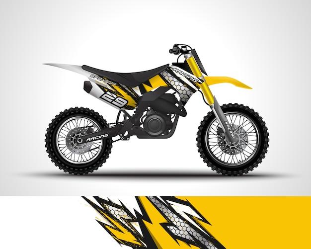Decalque do envoltório do motocross e ilustração da etiqueta do vinil.