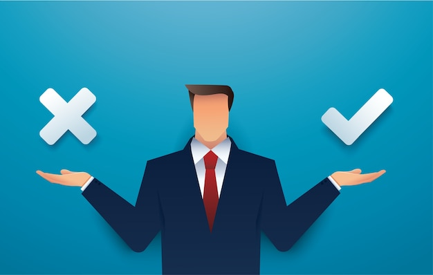 Decisão do empresário entre o certo e o errado fazendo a escolha