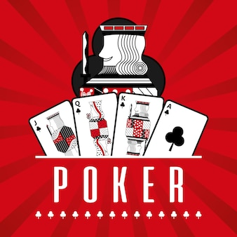 Deck of card casino poker king clubs red rays background