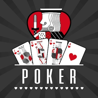Deck of card casino poker king hearts black rays background