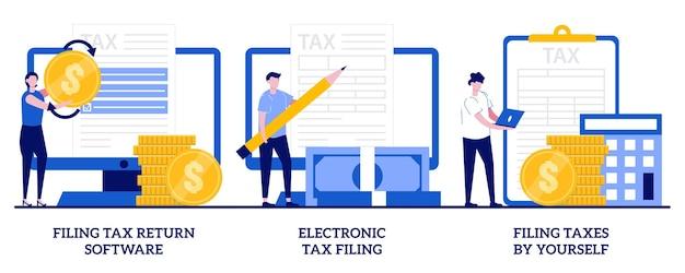 Declaração eletrônica de impostos, conceito de declaração de impostos por conta própria com ilustração de pessoas minúsculas