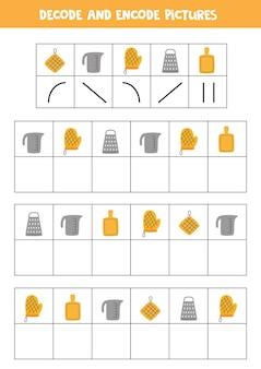 Decodifique e codifique imagens. escreva os símbolos em utensílios de cozinha.