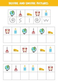 Decodifique e codifique imagens. escreva os símbolos sob o material escolar bonito.
