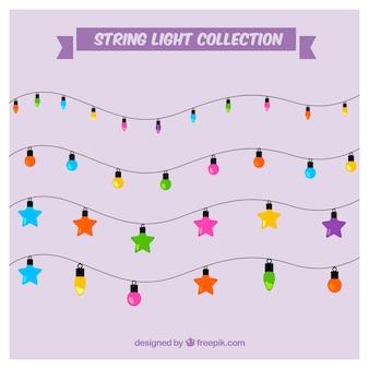 Decoração bonito com luzes de cordas coloridas