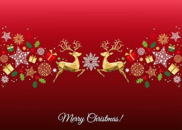 Decoração colorida de natal. feliz ano novo padrão em fundo vermelho. golden xmas saltando renas, azevinhos, presentes e flocos de neve. molde do vetor para o cartão.