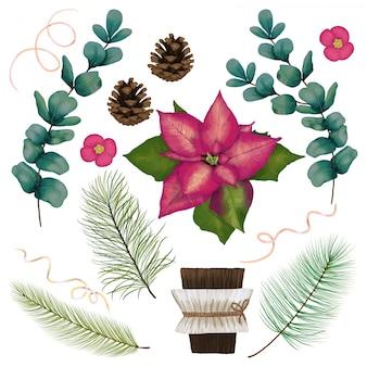 Decoração com flores e coníferas
